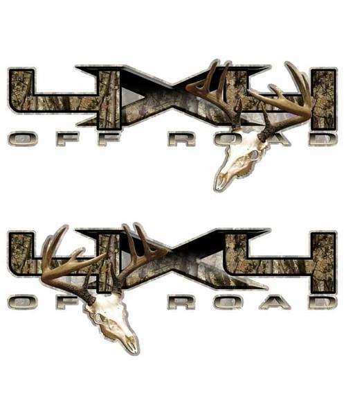"""Big """"X"""" 4x4 Deer Skull Decals"""