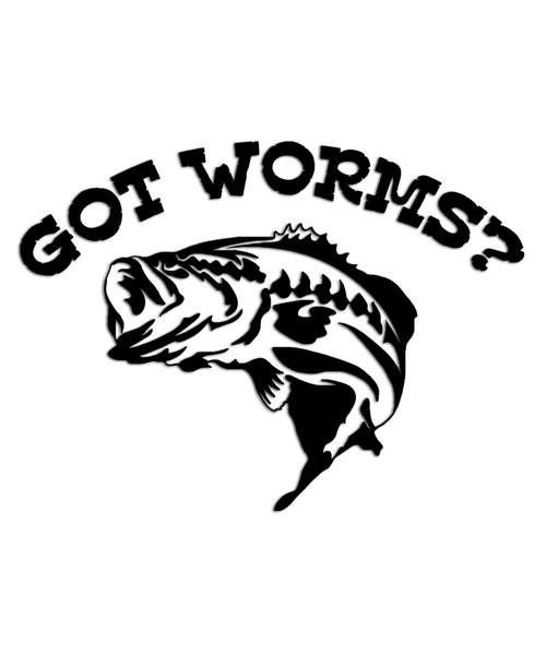 got worms? Bass Fishing Sticker