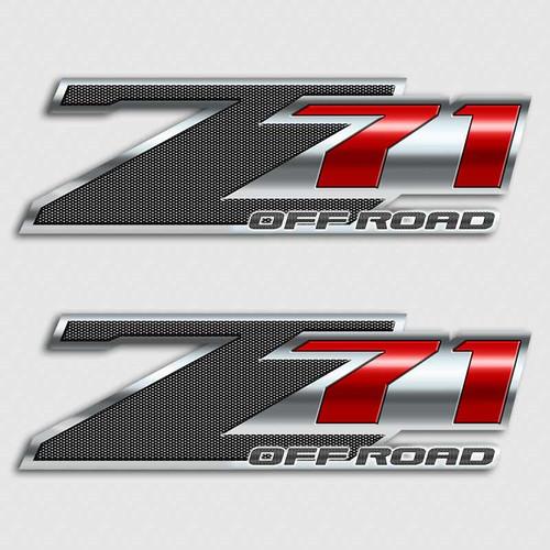 Carbon Fiber Red Z71 Off Road Sticker Set