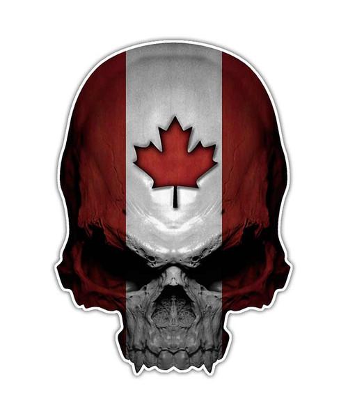 Canadian Flag Leaf Skull Sticker