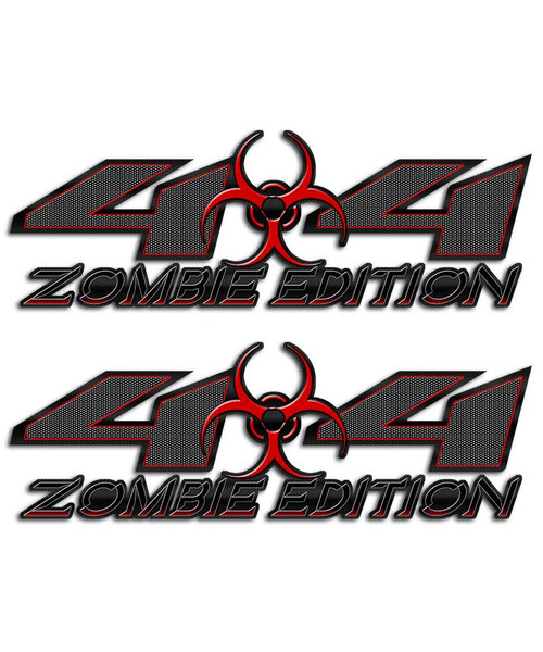 Zombie 4x4 Biohazard Carbon Fiber Sticker set