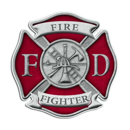 Red Firefighter Cross Sticker