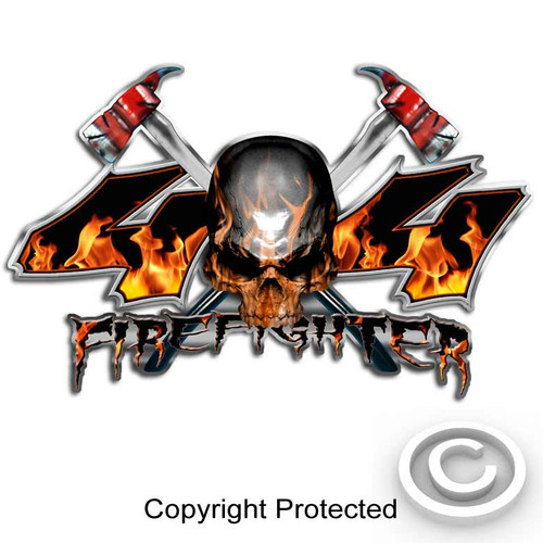 4x4 Firefighter Skull Axe Sticker Set