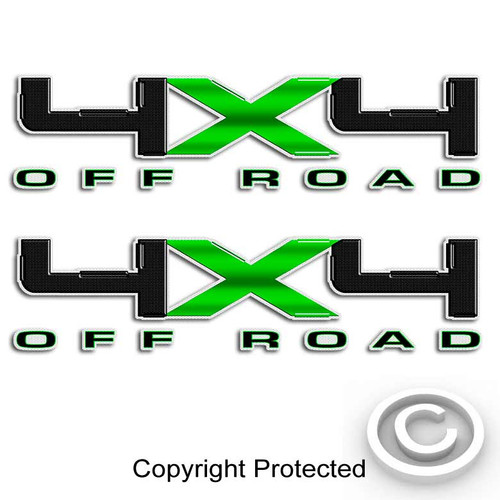 Carbon Fiber Green 4x4 Ford Decal Set
