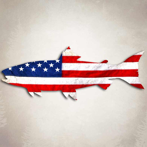 American Flag Salmon Trout Fish Decal