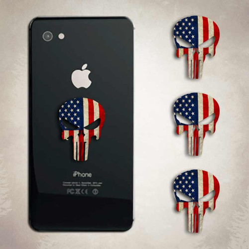 Punisher American Flag Skull Sticker iphone Android Decal Set