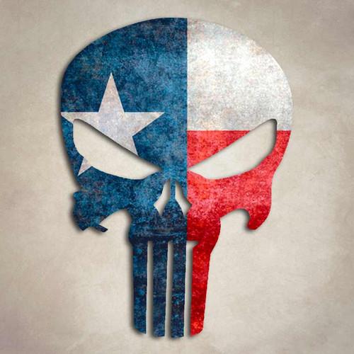 Punisher Texas Flag Skull Sticker