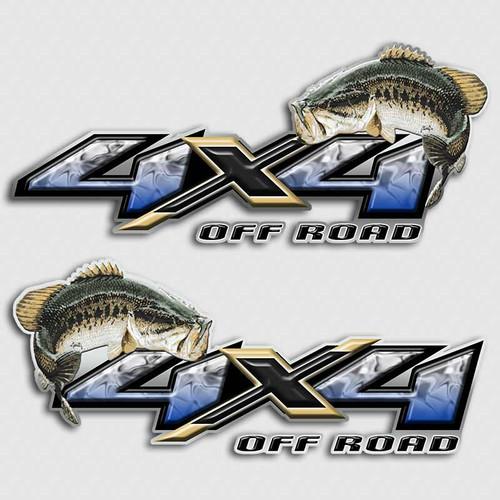 4x4 Bass Fishing Blue Silverado Decals