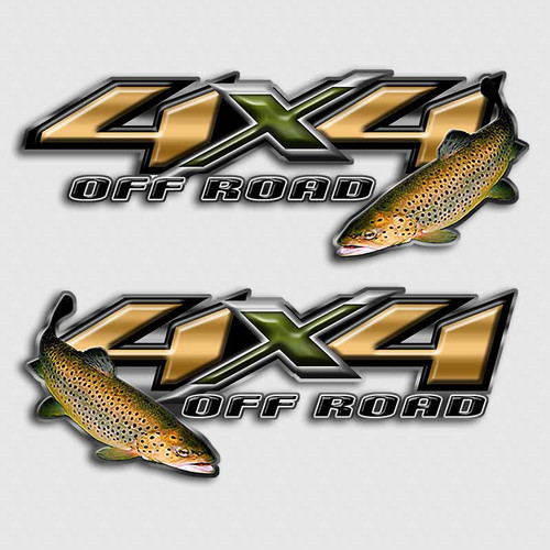 4x4 Brown Trout Fly Fishing Truck Decals