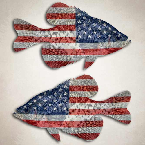American Flag Crappie Fishing Decal Set
