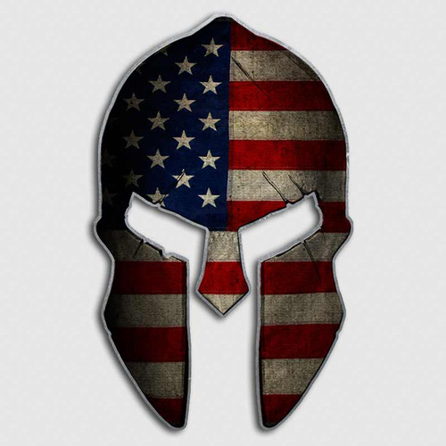 American Flag Spartan Helmet Decal Horizontal