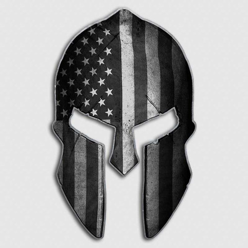 Subdued American Flag Spartan Helmet Decal