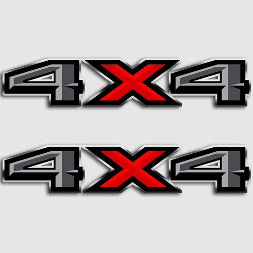 4x4 Ford F-150 Gray Red Truck Decals