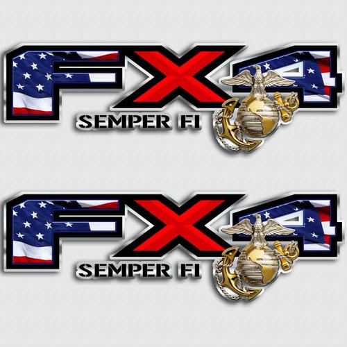 FX4 American Flag Marines SEMPER FI Truck Decals