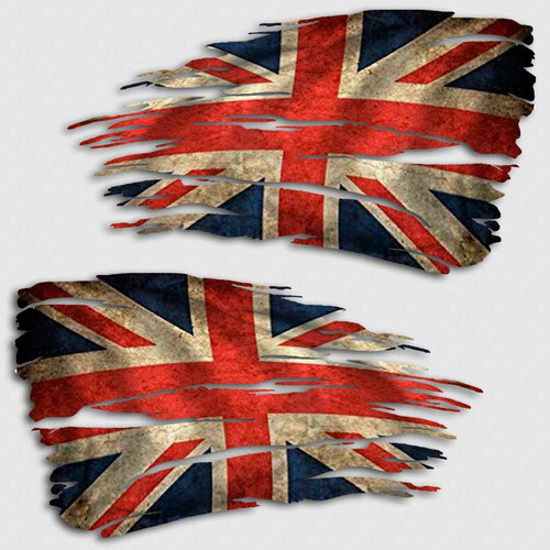 Tattered Union Jack Flag Distressed Decal Set