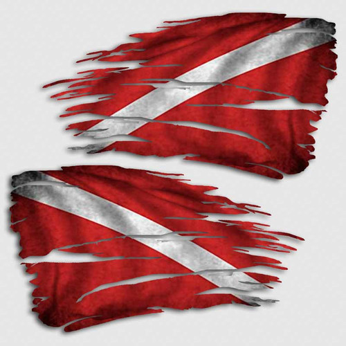 Tattered Dive Flag Distressed Decal Set