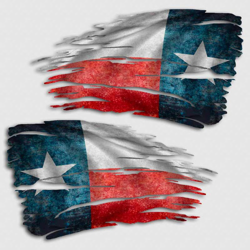 Tattered Texas Flag Distressed Decal Set