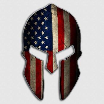 American Flag Spartan Helmet Decal Military Warrior Stickers