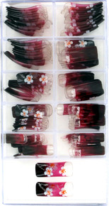 100 Piece set of Artificial Nails. Red to black fade on clear nail with white flowers and sparkly silver stems.