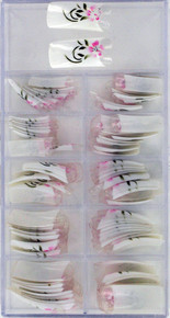 100 PCS Artificial Nails with White Nail Pink Flower with sparkle in center and Green Leaves