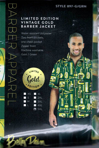 Betty Dain Limited Edition Vintage Gold and Green Barber Jacket. Size 5XL