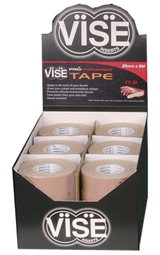 VISE TT-25 Skin Protecting Tape  Apply to your Thumb. Helps give you a clean consistent release. Will also help with preventing blisters and soreness on your thumb!  SOLD IN INDIVIDUAL ROLLS  Apply to the back of your thumbGives you a clean & consistent releaseFeels better on your hand than your own skinSKU: VGTT25Product ID: 5155