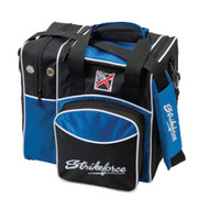 """This Single Tote is a very well made Single tote bag. There is a side pocket which carries a pair of bowling shoes along with a front accessory compartment.  Adjustable padded shoulder strapSide shoe compartmentLarge front accessory pocketFoam ball holderMetal hardware600D fabricHolds up to size 14 shoesDimensions: 14"""" W x 9"""" D x 13"""" H"""