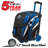 "This KR Cruiser Smooth Double Roller Royal/White/Black has many features to offer bowlers! If you're looking for a bag that can hold two pairs of shoes in a separate compartment, then this bag is for you!  Royal/White/BlackWheels: Color coordinated 4.5"" Smooth KRuze urethane wheels provide a quiet and smooth ride.Shoe Compartment: Separate shoe compartment with room for 2 pairs of shoes.Accessory Pocket: 1 large side pocket.Interior: Velcro retaining straps keep bowling balls secure.Handle: Retractable square color coordinated locking handle extends to 36""Fabric: 600DDimensions: 11""W x 19""D x 23""HWarranty: 5 year manufacturer's limited warranty"