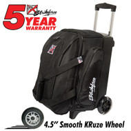 "This bag comes with many bonuses for the bowler! It features 4.5"" wheels for a smooth ride, a separate shoe compartment that holds two pairs of shoes, retractable square locking handle, and Velcro retaining straps to ensure your bowling balls are secure. Don't miss out on this classic Black KR Cruiser Smooth Double Roller bowling bag today!  Color: BlackWheels: Color coordinated 4.5"" Smooth KRuze urethane wheels provide a quiet and smooth ride.Shoe Compartment: Separate shoe compartment with room for 2 pairs of shoes.Accessory Pocket: 1 large side pocket.Interior: Velcro retaining straps keep bowling balls secure.Handle: Retractable square color coordinated locking handle extends to 36""Fabric: 600DDimensions: 11""W x 19""D x 23""HWarranty: 5 year manufacturer's limited warranty"