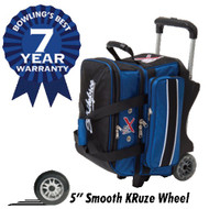 "This KR Royal Flush Double Roller has an outstanding 7 year warranty! This bag also features retaining straps to secure the bowling balls, a vented shoe compartment, and several accessory pockets. Don't miss out on this durable bowling bag today!  Color: Royal/Black7-Year Warranty1680D Ballistic fabric - it's KR Armor!Premium YKK luggage zippersMolded pick-up handlesPremium quality with deluxe featuresRetaining straps to secure bowling ballsVented shoe compartment stores shoes to size 15Separate top accessory pocketAccessory pockets on both sidesRetractable flush locking handle extends to 39""Dimensions: 14"" W x 18"" D x 21"" H"