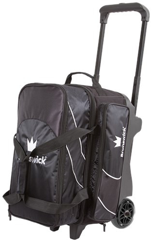 If you are needing a bowling bag to carry 2 bowling balls, a pair of shoes, and accessories then why not check out the Brunswick Edge Double Roller? This bag features a premium handle, large wheels with hub colors to match the bag, and quality fabrics. With a 5-year limited manufacturer's warranty this bag is going to be tough to beat.  Color: BlackPremium flush retractable handle system5 inch PVC wheels with matching hub colorsExtra large front zippered pocketHolds up to size 17 men's shoeEmbroidered logos600D/840D fabrics5-Year Limited Warranty