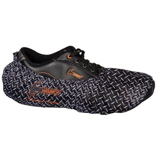 These unique diamond plated print Hammer Shoe Covers protect your bowling shoes from debris and moisture. These one size fits most shoe covers easily slip over most bowling shoes and are sold in pairs.  SOLD IN PAIRS  Color: Grey/Black diamond plate patternFit up to size 14 shoesDefend bowling shoes from the offensive elements, inside and outside of the bowling centerProtect the soles of bowling shoes from moisture, gum, food, etcEasily slips on over bowling shoes