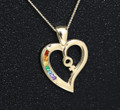 9ct Gold Female Rainbow Heart pendant set with Semi Precious Natural stones