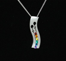 Sterling Silver Rainbow Female symbol necklat set with Semi Precious Natural stones Small 23mm on a complimentary chain