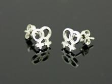 Sterling Silver Female Gender Pair Medium Stud Earrings