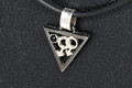 Sterling Silver Rhodium Plated Male Gender Necklat Onyx Set on Black Rubber Cord