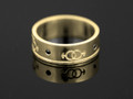 9ct Gold Male Gender Commitment & Friendship Ring with 4 Black Diamonds