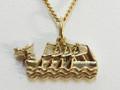 9ct Gold Large Dragon Boat Necklat G-2228