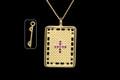 9ct Gold Trampoline Stone Set Necklat 25mm