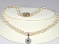 Unique,Stunning Natural Baroque Pearls with Sapphire & Diamond Cluster Droplet 1196