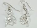 Silver Ribbon Gymnast  Drop Earrings S-2368