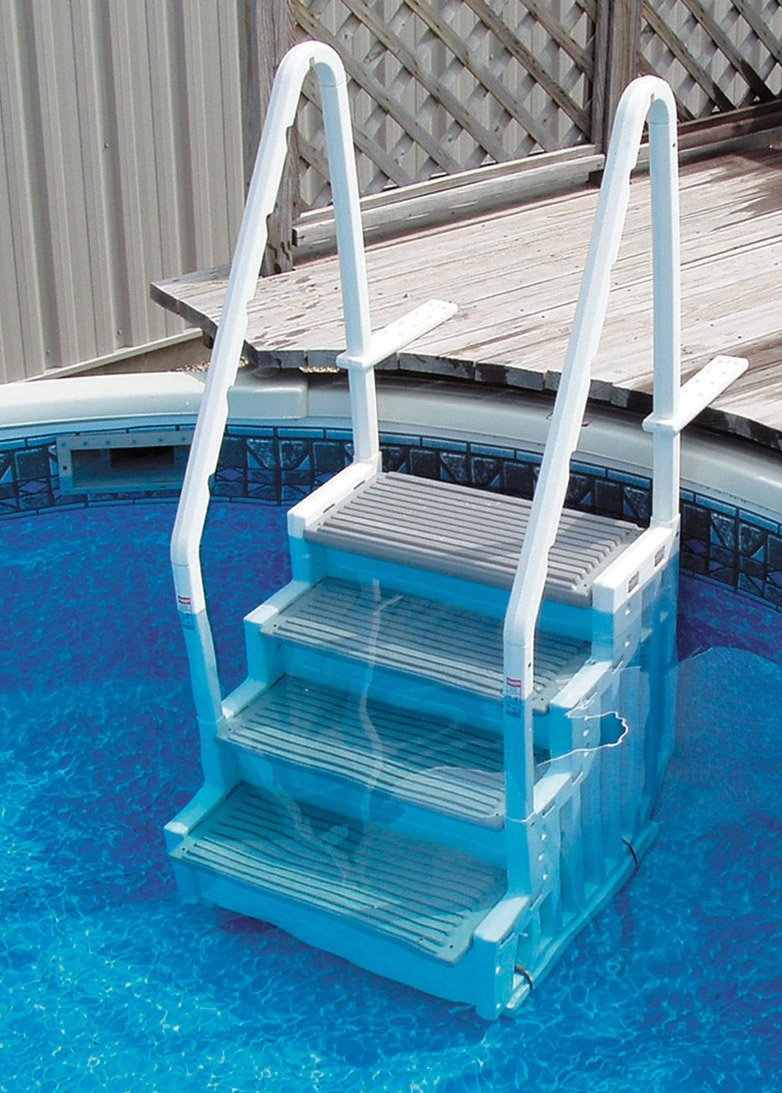 Pool ladders sturdy convenient above ground pool deck for Swimming pool accessories