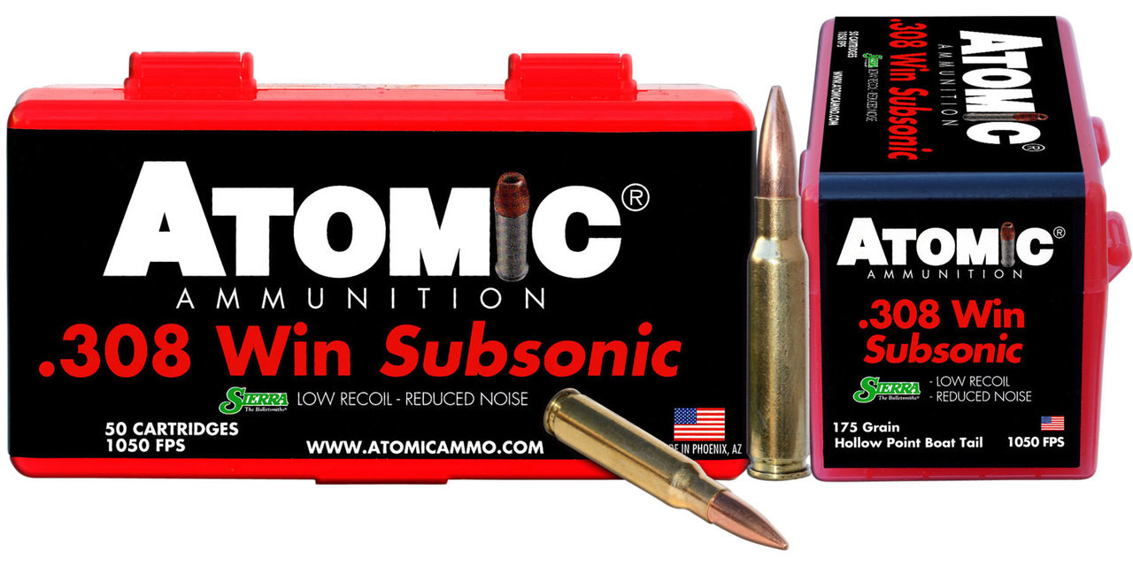 Atomic Subsonic 308 Winchester/7.62 Nato 175 Gr Subsonic 50 Bx/ 10 Cs