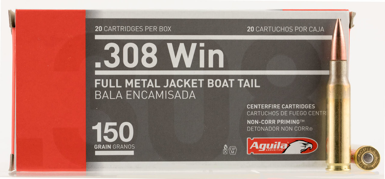 Aguila 308 Winchester/7.62 Nato 150 Gr Full Metal Jacket Boat Tail 20 Bx/ 25 Cs