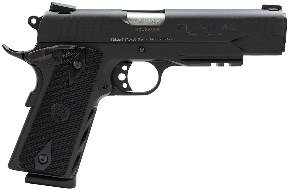 Taurus 1911 Std 45 Acp 5[dquote] 8+1 W/light Rail Heinie Sight Blk Grip Blue