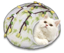Cat in cherry blossom wool cat cave.