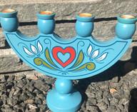 Vintage - Hand painted Blue Allmoge Candleholder