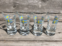 Vintage -  Snaps Glass , Swedish Flag