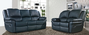 Atlantta 3 and 2 Seater Black Leather Sofas