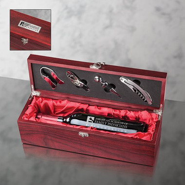 Coffret Deluxe en bois de rose pour 1 bouteille de vin avec accessoires